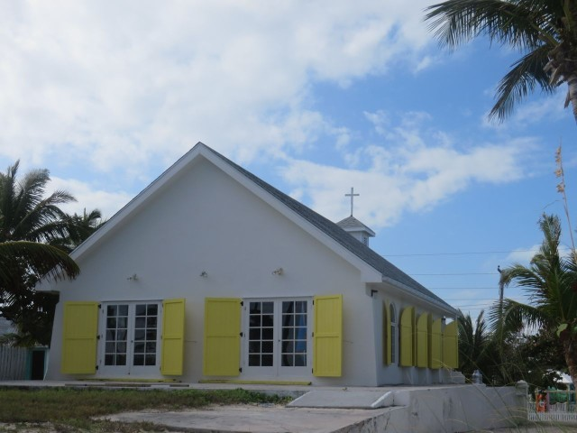 The view of St. James Church from the beach.