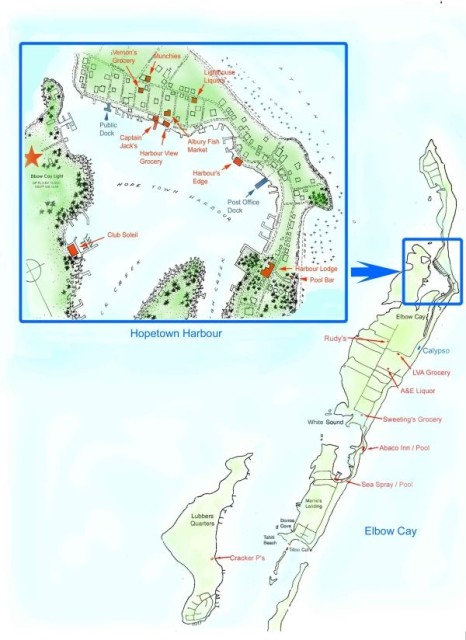 A map of Elbow Cay