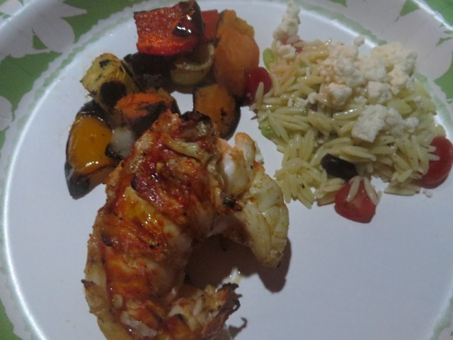 Grilled vegetables, orzo salad, cajun spiced grilled lobster tail