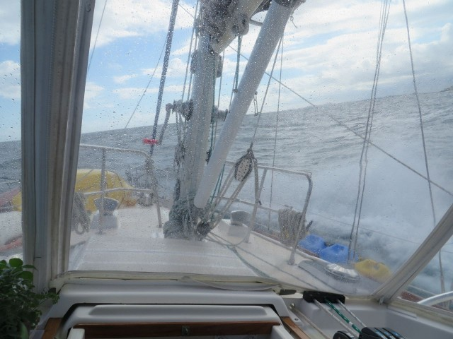 We had quite a ride - higher seas than expected and lots of water over the bow!