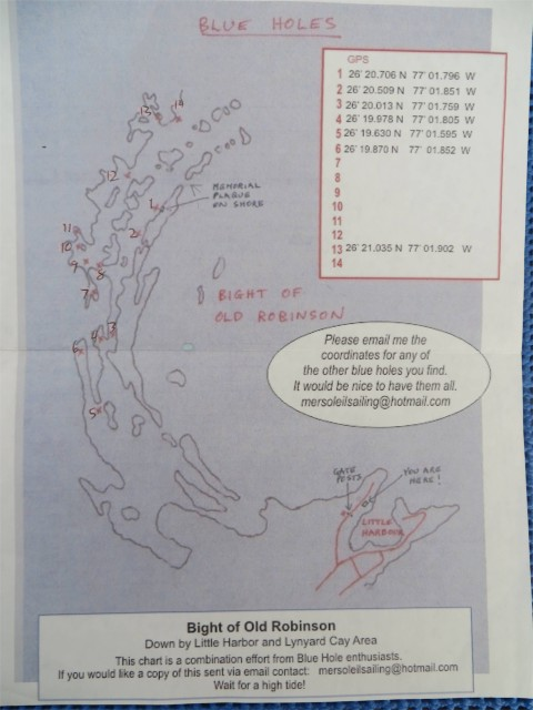 """A map for Blue Holes in the Bight of Old Robinson (almost sounds like the old movie """"Goonies."""" Are you old enough to remember?"""