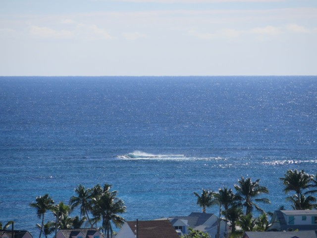 With the zoom lens you can even see the breaking waves on a reef on the eastern shore.