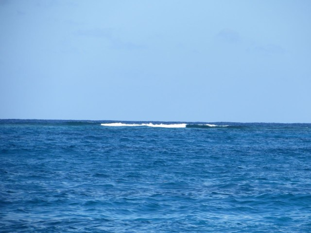A view of the surf breaking on the reefs beyond the Sea of Abaco.