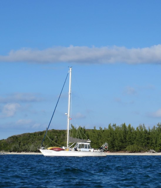 At anchor, in the Bahamas