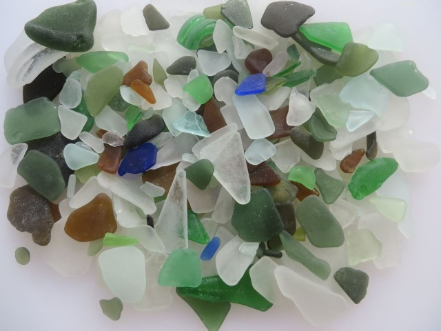 "Al's one day bonanza of sea glass. A few pieces will need to be returned for more ""work"" in the tumbling sands and waves."