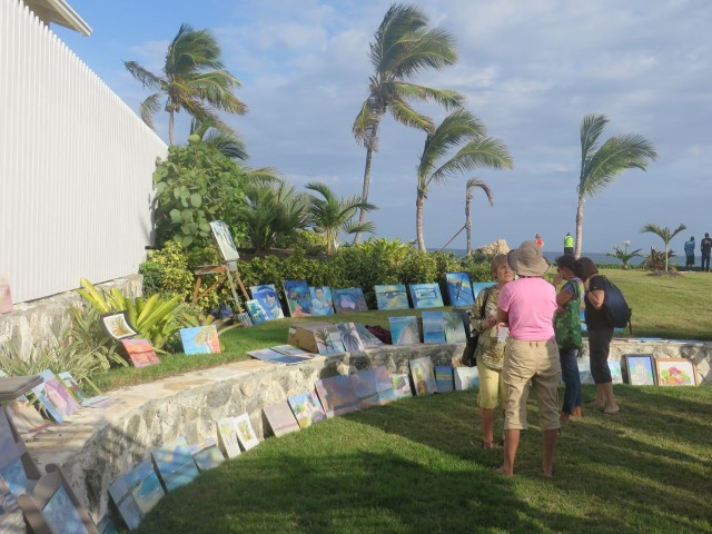The paintings were displayed in this wonderful outdoor setting.
