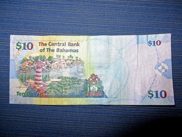 The Elbow Reef Lighthouse on the Bahamian $10 bill