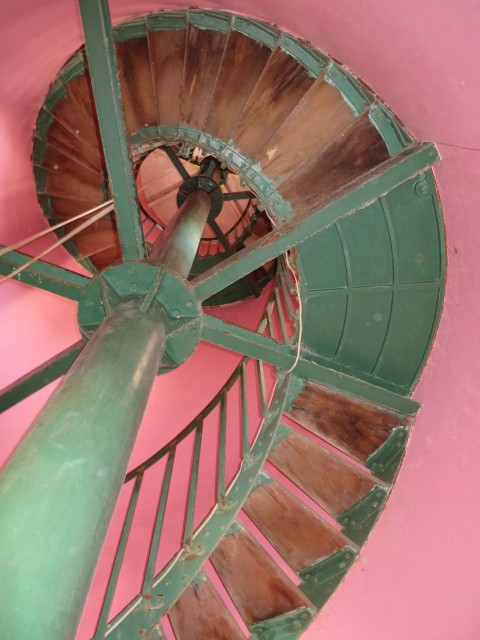 Starting the climb up the spiral staircase