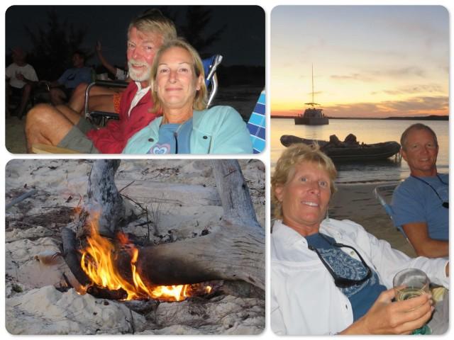 Enjoying the fire on the beach