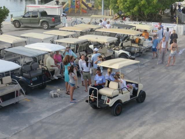 A golf cart parking lot