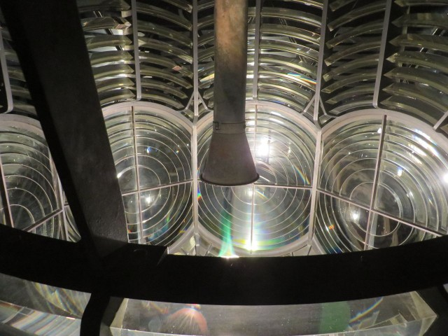 The light glows inside the fresnel lens