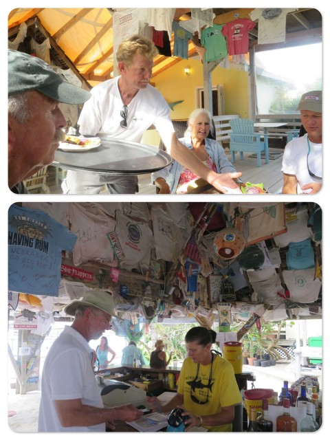 ~Wellington serves our lunch of hamburgers and fish sandwich. ~Al at the bar