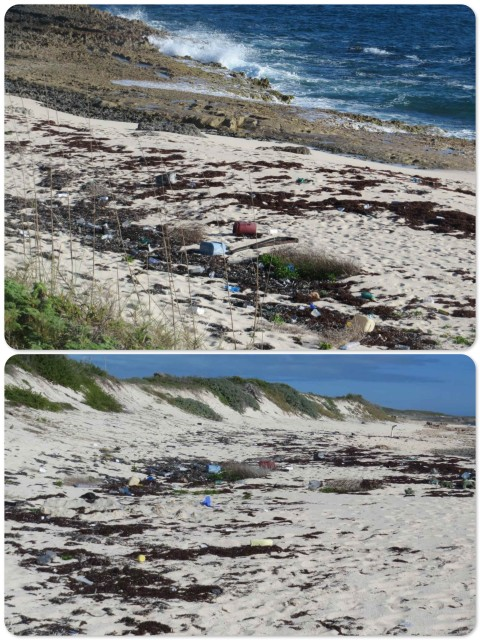 At the high tide mark, this isolated beach is covered with plastic debris.
