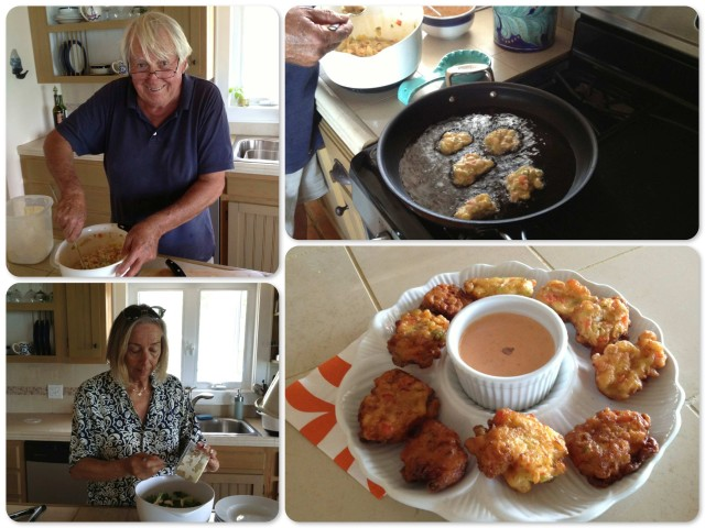 ~Bruce stirring the conch fritters ~ frying the fritters ~ finished conch fritters Tracy tossing the salad