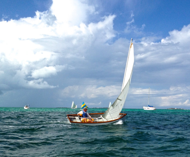 Our friend, John, was racing in one of the Abaco dinghies. Whenever he passed within range of our dinghy, we enthusiastically  cheered him on.
