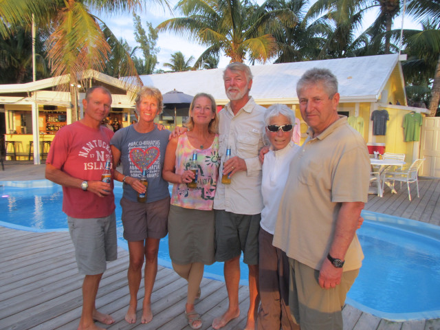 Shennecossett Yacht CLub REunion in the Abacos - the crews of Cutting Class, Kindred Spirit, and Aurora