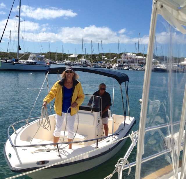 Tracy and Bruce arrive by boat for lunch on Kindred Spirit