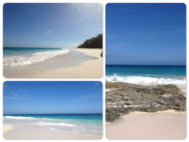 Views of the beach on the ocean side of Guana Cay.