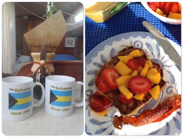 Coffee and coconut bread French toast with mango and strawberry topping. Now that was a special treat!