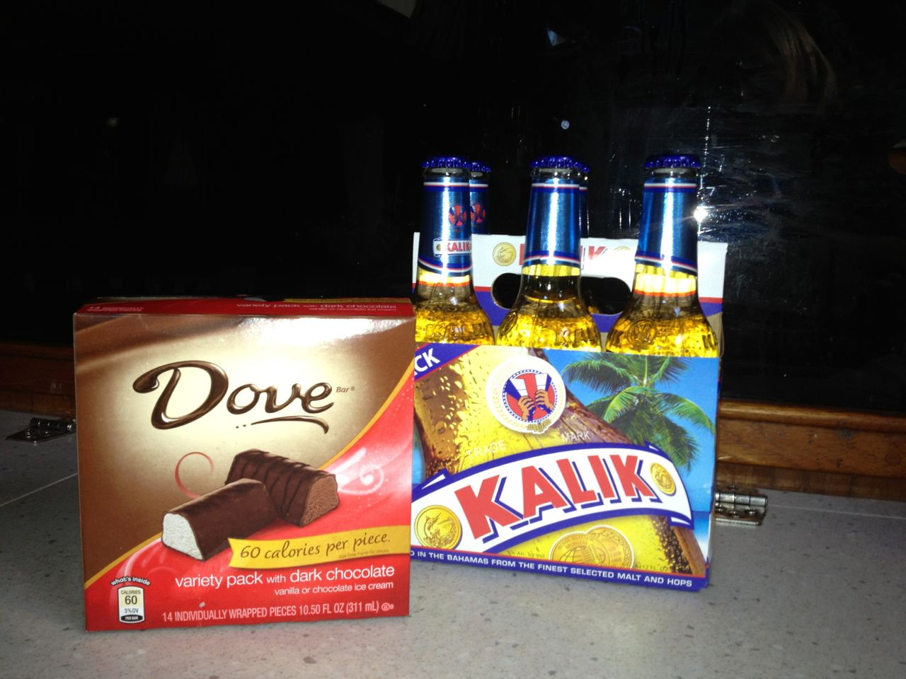 We both a box of Dove mini ice creams, our favorite indulgence, and a 6-pack of Bahama beer, Kalik. The best of both worlds!