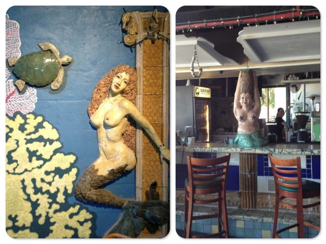 Two very different mermaids!  The one of the left adorns a wall among the galleries. The one on the right sits atop the bar.