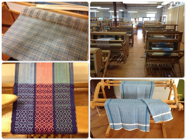Clockwise from upper right ~ Weaving classroom - lots of looms ~My finished M&W hand towels ~ My first sampler ~ Log cabin design all on my own at home on my very little loom