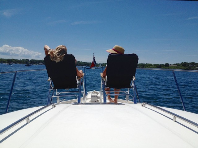 Mj and I relaxing on the bow of Jallao in West Harbor, Fishers Island