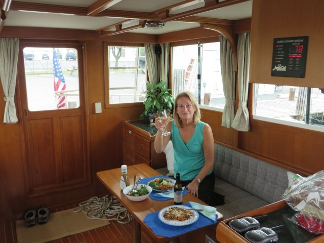 Sunday evening - first dinner onboard the boat. A Toast to us and the new, soon-to-be Kindred Spirit.