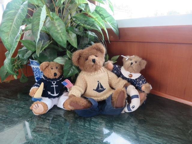"The only ""decorating"" we did for this trip was to select three bears from our little collection of sailing  bears and bring them along for good luck."