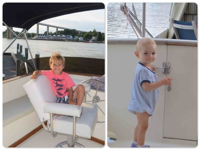 ~Aaron in the helm seat on the flybridge. Ready to captain! ~ Ella investigates the transom door. Trying to escape??