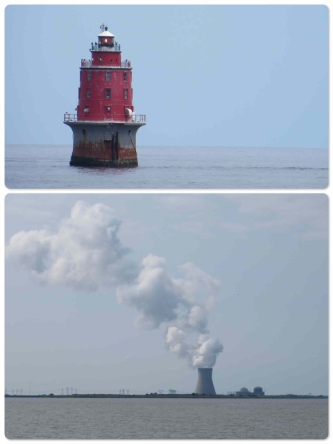 ~ A lighthouse marking shoals ~ The nuclear power plant spewing smoke.