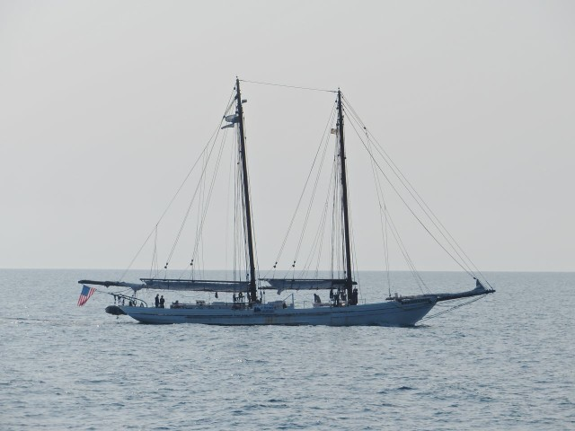 A two-masted schooner passed us, moving southward.