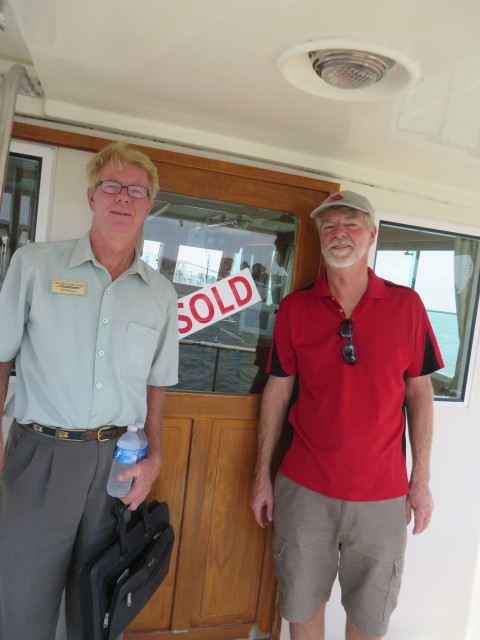 """The """"SOLD"""" sign was on the boat when we arrived for the survey and sea trail. Yu gotta love that kind of optimism - this was not a done deal, yet!"""