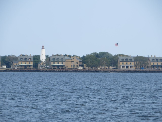 The view along Sandy Hook on our way to anchor behind the breakwater.