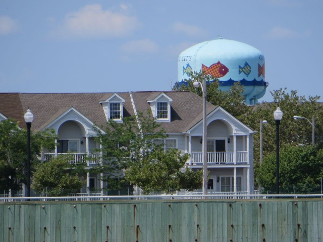 A cute water tower was visible over the buildings in Atlantic City.