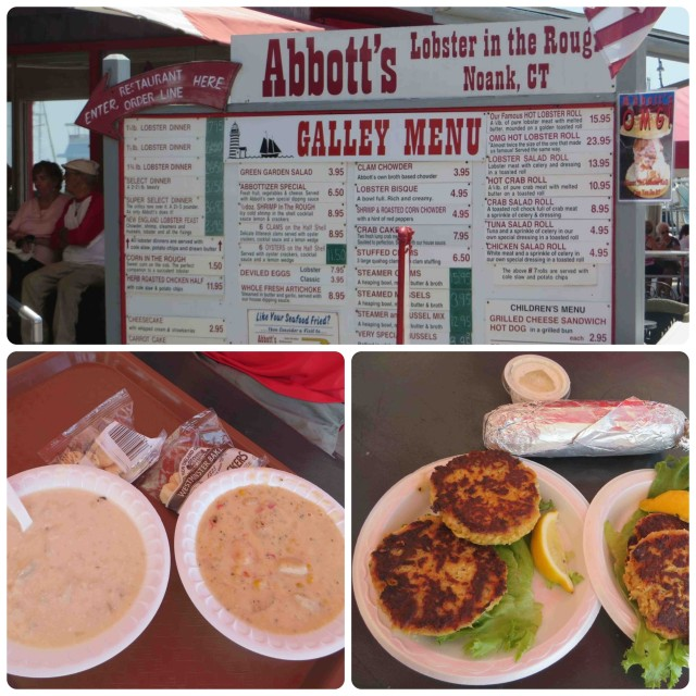 A stop at Abbotts in Noak for lunch. Clam chowder and shrimp & corn bisque, followed by crab cakes. This was actually a taste test. Although the crab cakes were good, they did not compare at all to the ones in the Chesapeake Bay!!