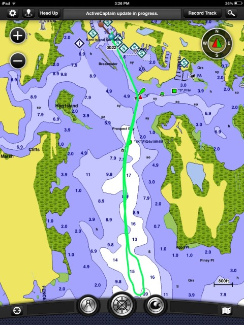 We used the Garmin Blue Chart app on the iPad during the sea trial, a trip of 2.5 nautical miles.