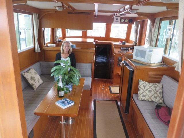 Step into the salon right form the aft deck