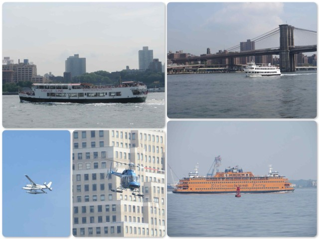 ~It was definitely tourist time - lots of tour boats.  ~The Staten Island Ferry is easy to spot on its back and forth trips with that orange color.  ~ A seaplane and many helicopters.