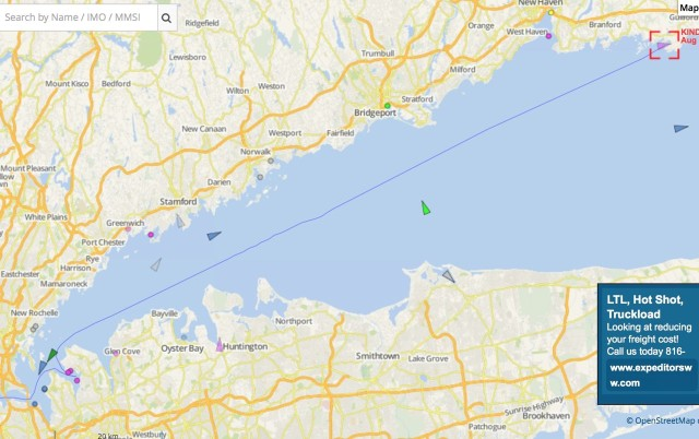 Our  AIS track on Vesselfinder for the day. From Port Washington to Sachem Head