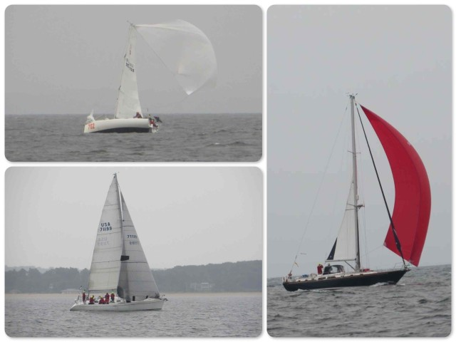 A few of the sailboats in the Around Long Island Regatta. Not the nicest conditions for a race!