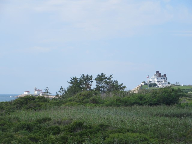 On our walk we had a view of Taylor Swift's home (right) perched on a beach cliff. The Watch Hill Coast Guard Station is on the right.