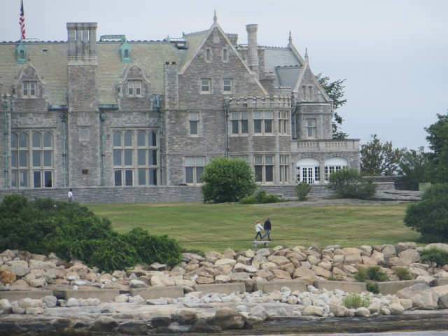 Our friends MJ and Dean were waiting for us on Avery Point. They took fabulous photos of us as we passed. That's MJ and Dean walking in front of Branford Mansion.