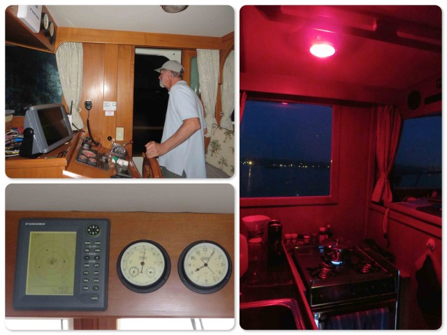 We used the red light in the galley so that coffee could be made. Red light does not affect your night vision as much as regular lighting. ~ Al peaks his head out the door to maneuver us out the harbor. ~ Radar is good to have in the dark and in limited visibility.