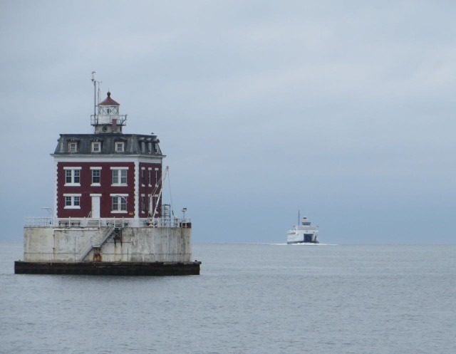 Hurray!! Ledge Light at the end of New London Harbor with a ferry steaming in behind it.