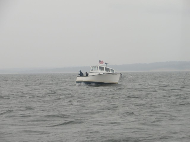 A lobster boat tossing about a bit as they stop to check the traps.