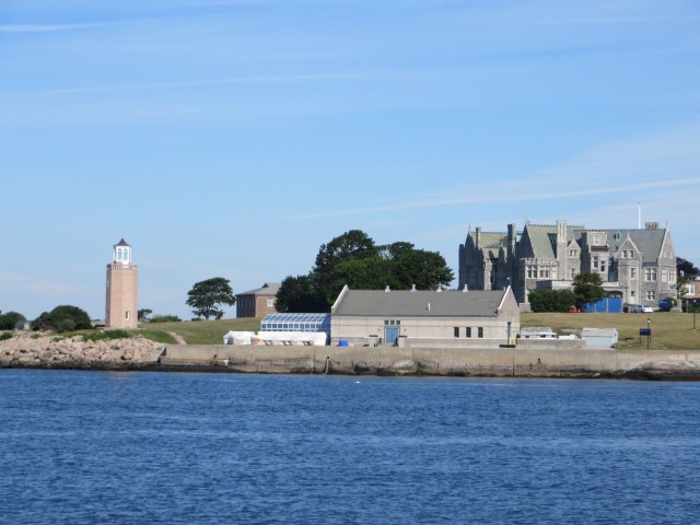 UCONN's Avery point campus. The little lighthouse on the left and Branford Mansion on the right.