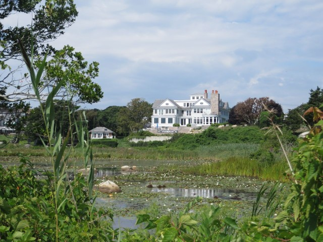 This home sits among similar stately mansions overlooking a pond.