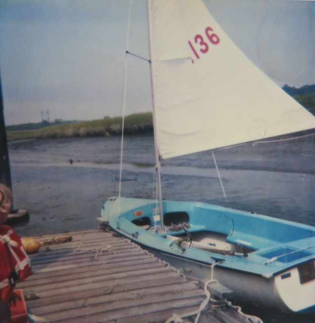 Al enjoyed sailing the Lightening for a couple of years, but wantedto find something in fiberglass, again. So he traded the wooden Lightening for a 17 ft fiberglass sailboat. Although this one was fiberglass, it was too small for a family of four, so he sold it.