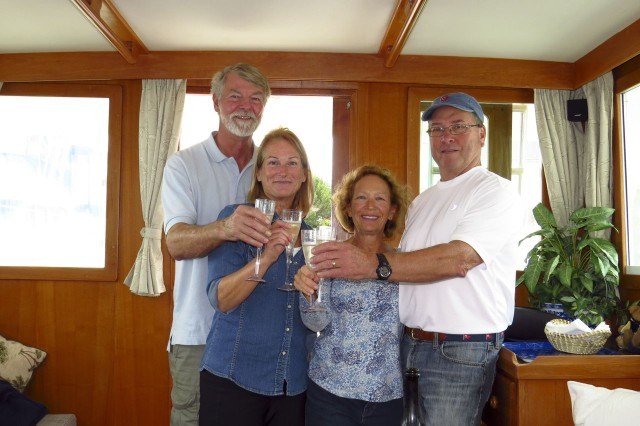 A champagne toast to a successful boat search, a good voyage home, and begin back on the water again! Thanks for the great photos, MJ and Dean!